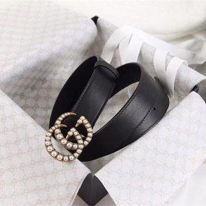 ✨85cm✨ Woman Leather Belts Monogram G-Signature Buckle Pearl Matte ✨LPD6